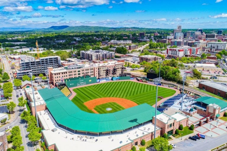 aerial shot of baseball field in greenville