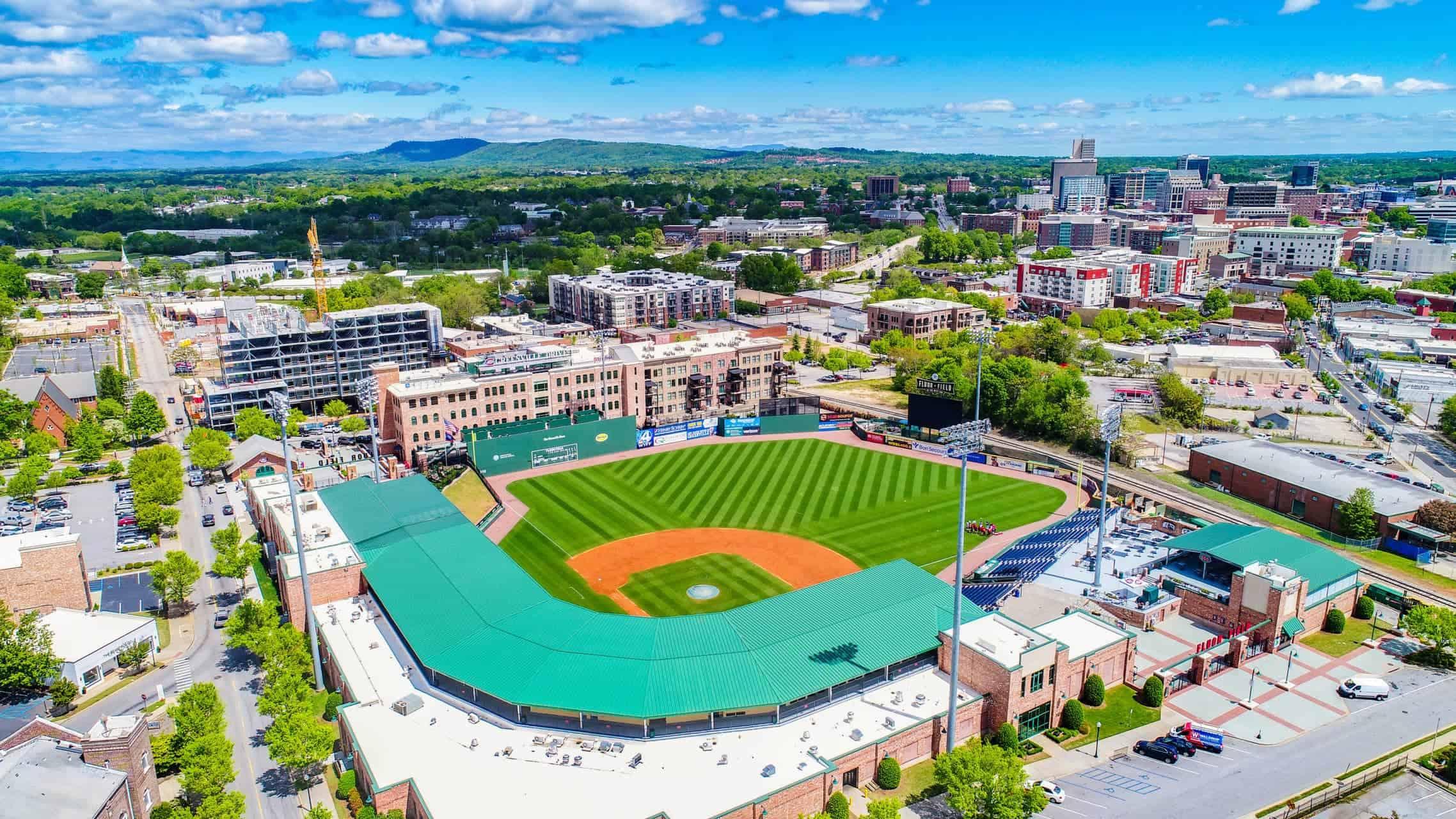 aerial shot of baseball field in greenville