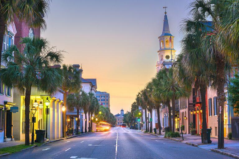 Charleston, South Carolina, USA in the French Quarter at twiligh