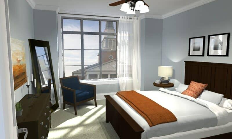 endering of bedroom with window open
