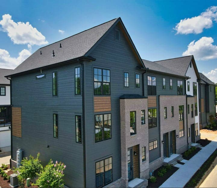 exterior of completed hub townhomes